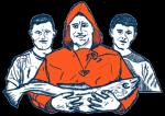 Fish4you logo. Tre mænd, hvor den ene af dem står i en rød jakke, og holder en fisk