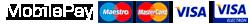 Liste over mulige betalingsformer: MobilePay, Maestro, MasterCard, VISA og VISA Electron